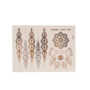 Tatouage ephemere doré - Arabesque et rosace oriental