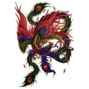Tatouage ephemere le phenix multicolore