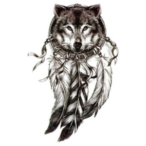 Tatouage ephemere loup dreamcatcher