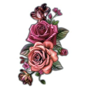 Tatouage ephemere la rose rubis