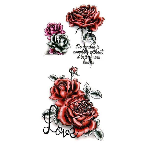 Tatouage ephemere rose rouge et message - TATOOSHOP