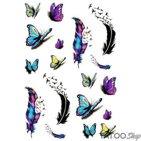 Tatouage ephemere plumes et papillons