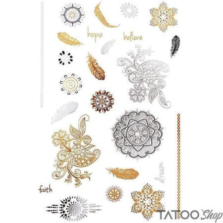 Tatouage ephemere mandalas et plumes en or métallisé