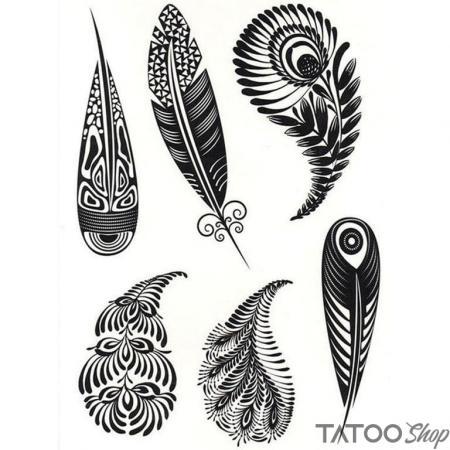 Tatouage ephemere plumes dessinées
