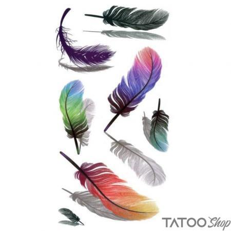 Tatouage ephemere plumes colorées