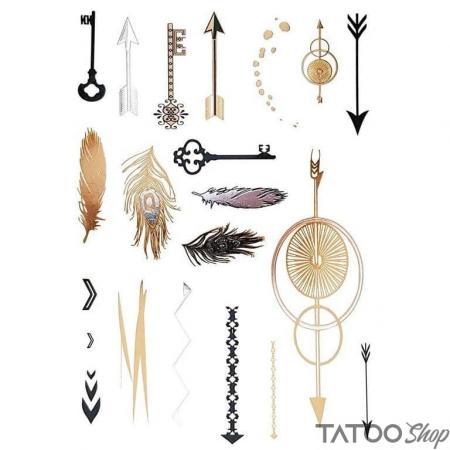 Tatouage ephemere flèches et plumes métalliques en or