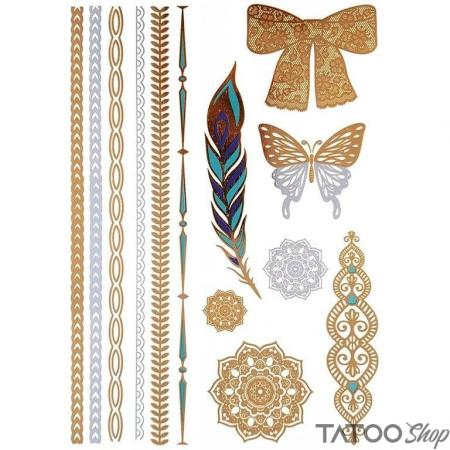 Tatouage ephemere plumes et arcs métalliques en or