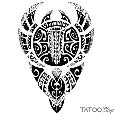 Tatouage ephemere rayon manta polynésien