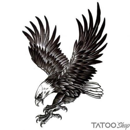 Tatouage ephemere aigle B&W