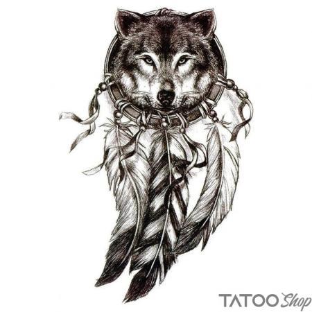 Tatouage ephemere loup dreamcatcher