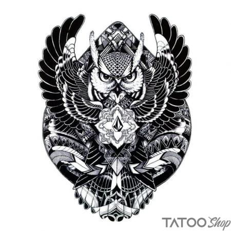 Tatouage ephemere chouette maori