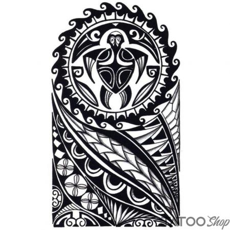 Tatouage ephemere tortue maori