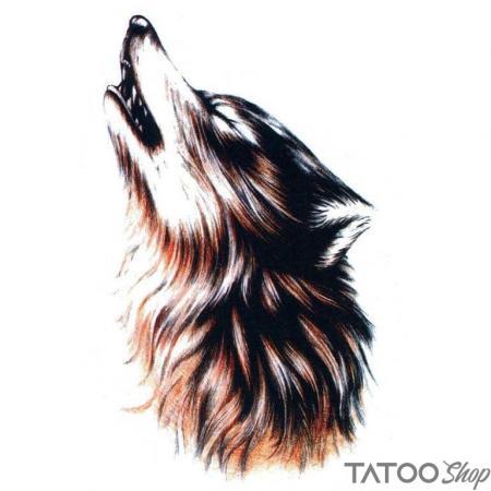 Tatouage ephemere loup hurlant