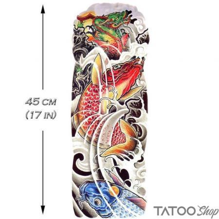 Tatouage ephemere manchon de koï et de dragon