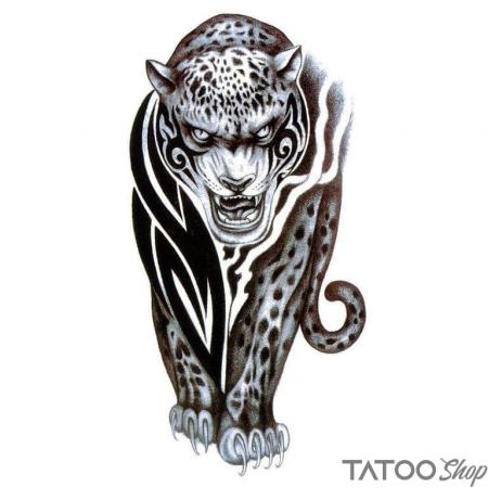 Tatouage ephemere leopard tribal