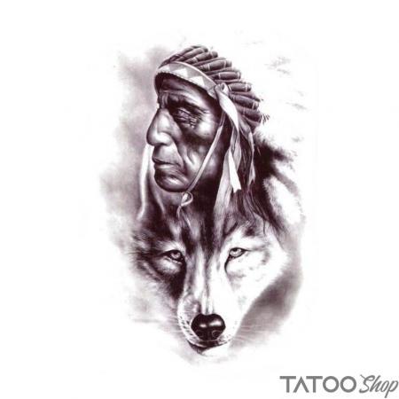 Tatouage ephemere loup indien