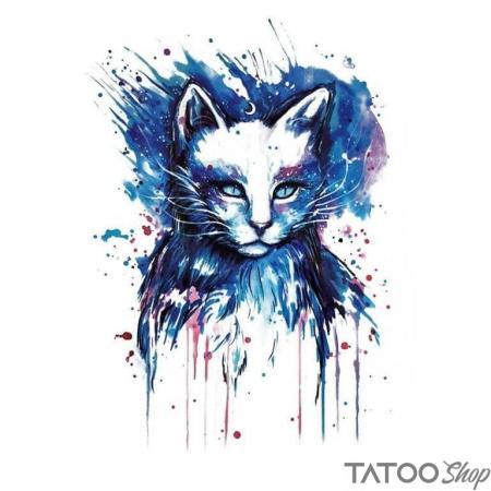 Tatouage ephemere chat d'éclaboussure
