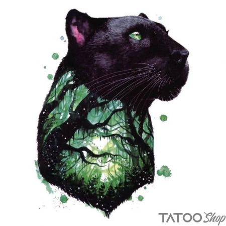Tatouage ephemere panthère aquarelle