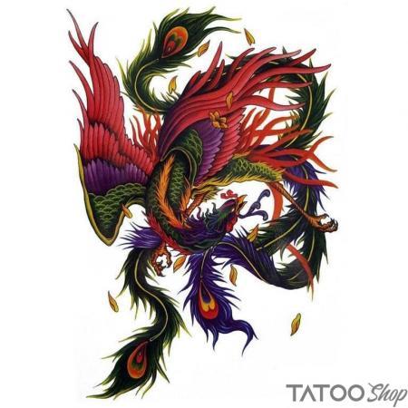 Tatouage ephemere le phenix multicolore