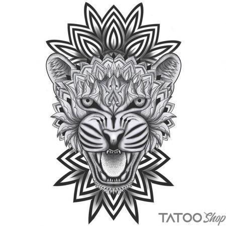 Tatouage ephemere tigre mandala