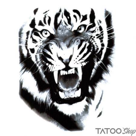 Tatouage ephemere tigre rugissant