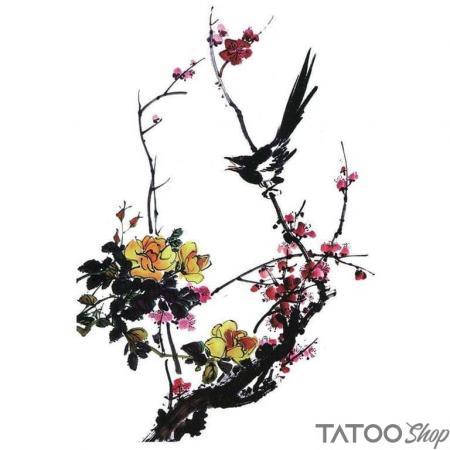 Tatouage ephemere oiseau pie