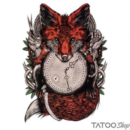Tatouage ephemere renard du temps