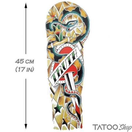 Tatouage ephemere manchon serpent vérité