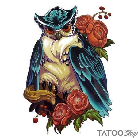 Tatouage ephemere chouette majestueuse