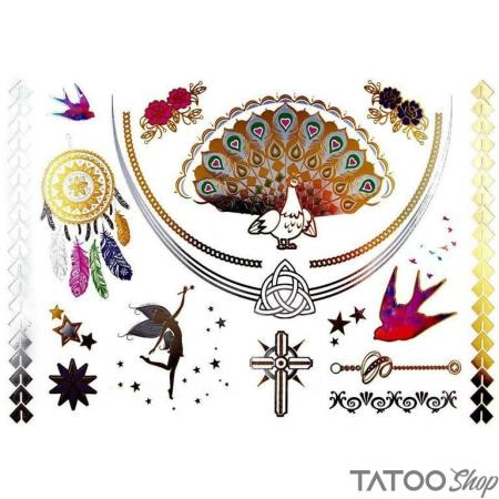 Tatouage ephemere paon en or métallisé - Pack