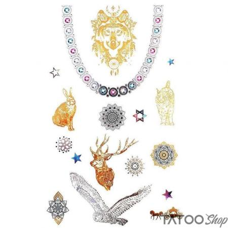 Tatouage ephemere animaux en or métallisé - Pack