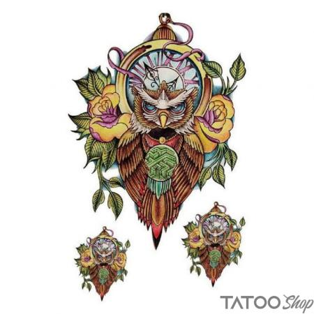 Tatouage ephemere chouette gardienne du temps - Pack