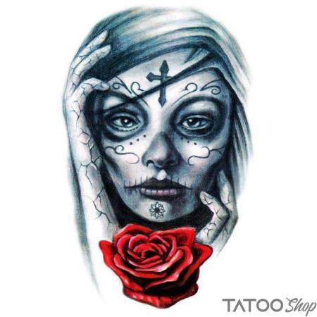 Tatouage ephemere portrait santa muerte