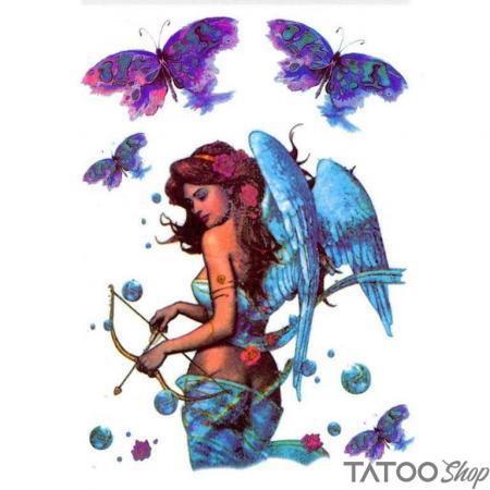 Tatouage ephemere ange et papillons