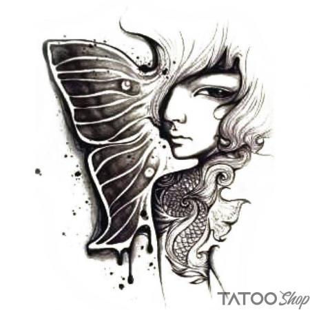 Tatouage ephemere la fille aux papillons