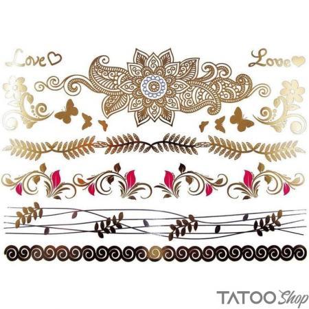 Tatouage ephemere doré et argenté