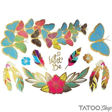 Tatouage ephemere plume et papillon