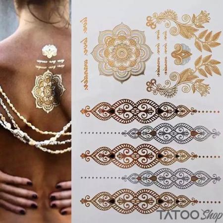 Tatouage ephemere bracelets en argent métallique