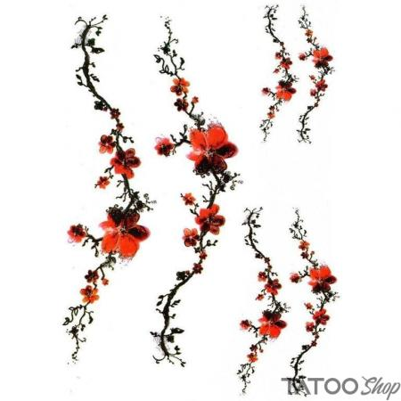 Tatouage ephemere branche de fleurs rouges
