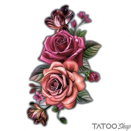 Tatouage ephemere rose rubis