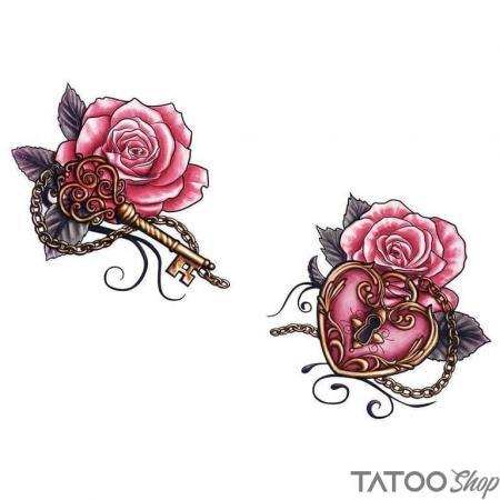 Tatouage ephemere rose clés du cœur