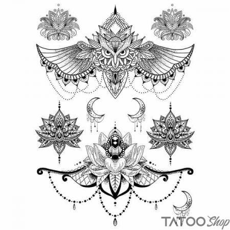 Tatouage ephemere fleur de lotus underboob