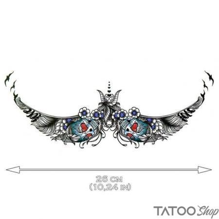 Tatouage ephemere love skull underboob