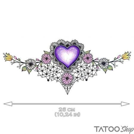 Tatouage ephemere coeur violet underboob