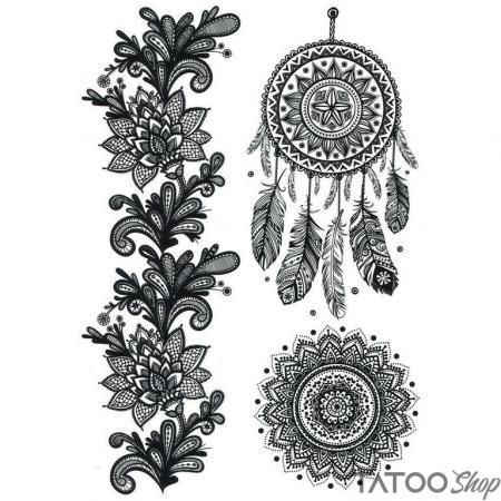 Tatouage ephemere mandala & henné attrape rêve