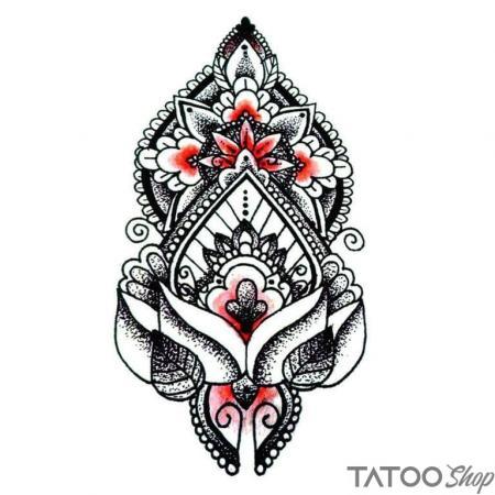 Tatouage ephemere lotus long noir