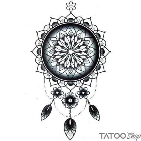 Tatouage ephemere grand attrape reve mandala
