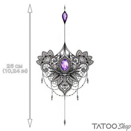 Tatouage ephemere mandala de bijoux violets underboob