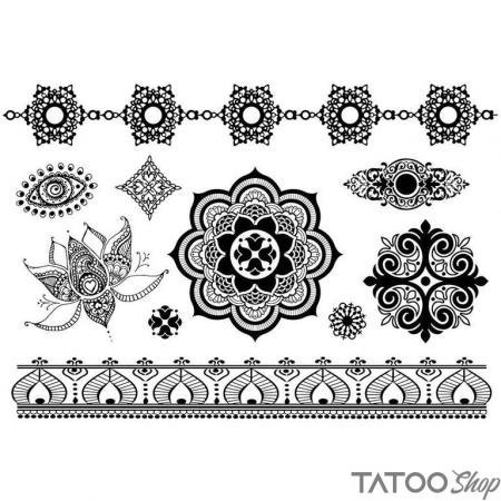 Tatouage ephemere motif noir mandala