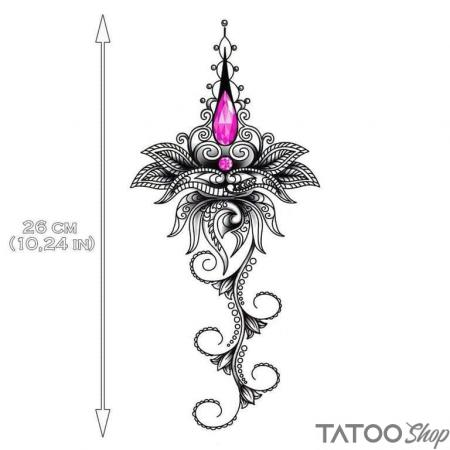 Tatouage ephemere rose bijoux underboob
